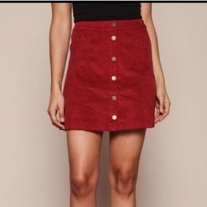Forever 21 Red Corduroy Button Up Mini Skirt